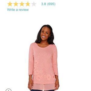 MAUVE Slub knit embellished top with trim.